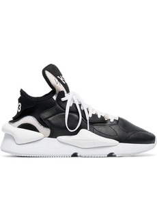 Y-3 black and white kaiwa leather and neoprene sneakers