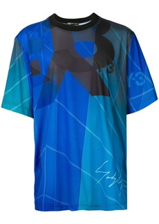 Y-3 blue signature print t-shirt