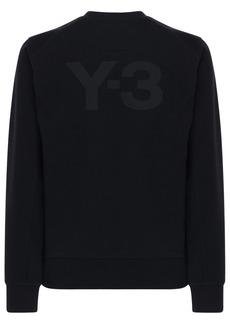 Y-3 Logo Print Cotton Crewneck Sweatshirt