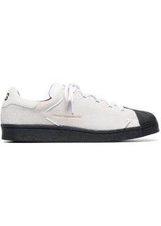 Y-3 white leather superknot lowtop sneakers