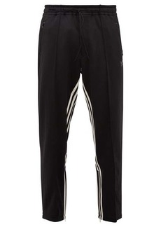 Y-3 Cropped inverse-stripe jersey track pants