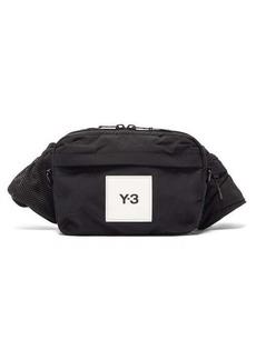 Y-3 Logo-patch dual-strap shell cross-body bag