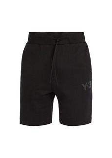 Y-3 Logo-print drawstring-waist cotton shorts