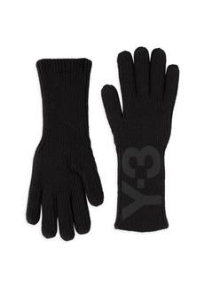 Y-3 Logo Print Ribbed Gloves