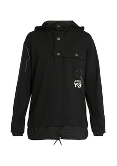 Y-3 Sashiko-embroidered hooded cotton sweatshirt