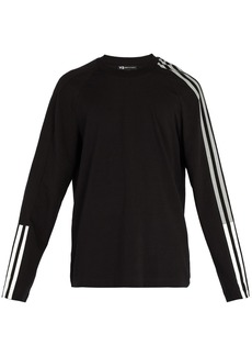 Y-3 Striped cotton-blend long-sleeved T-shirt