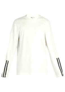 Y-3 Three Stripe long-sleeve cotton-jersey top
