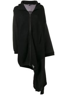 Y-3 Yohji Yamamoto asymmetric hooded coat