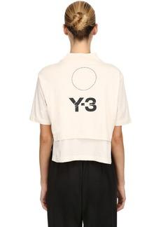 Y-3 Yohji Yamamoto Stacked Logo Cropped Jersey T-shirt