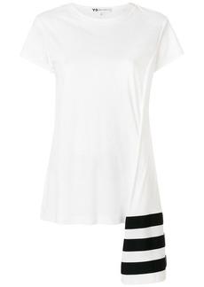 Y-3 Yohji Yamamoto stripe asymmetric hem T-shirt