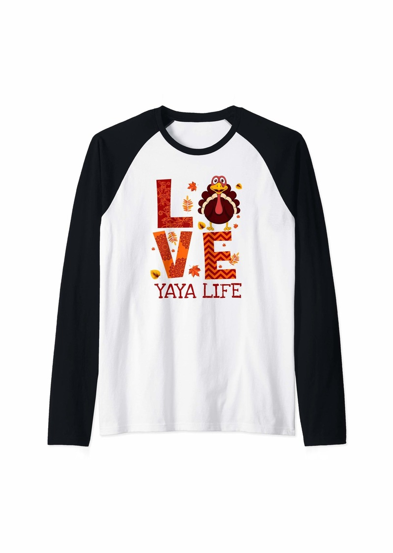 Ya-Ya Love Yaya Life Turkey Thanksgiving Funny Yaya Gift Raglan Baseball Tee