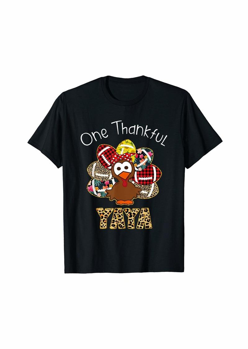 Ya-Ya One Thankful Yaya Football - Turkey Thanksgiving Gifts T-Shirt
