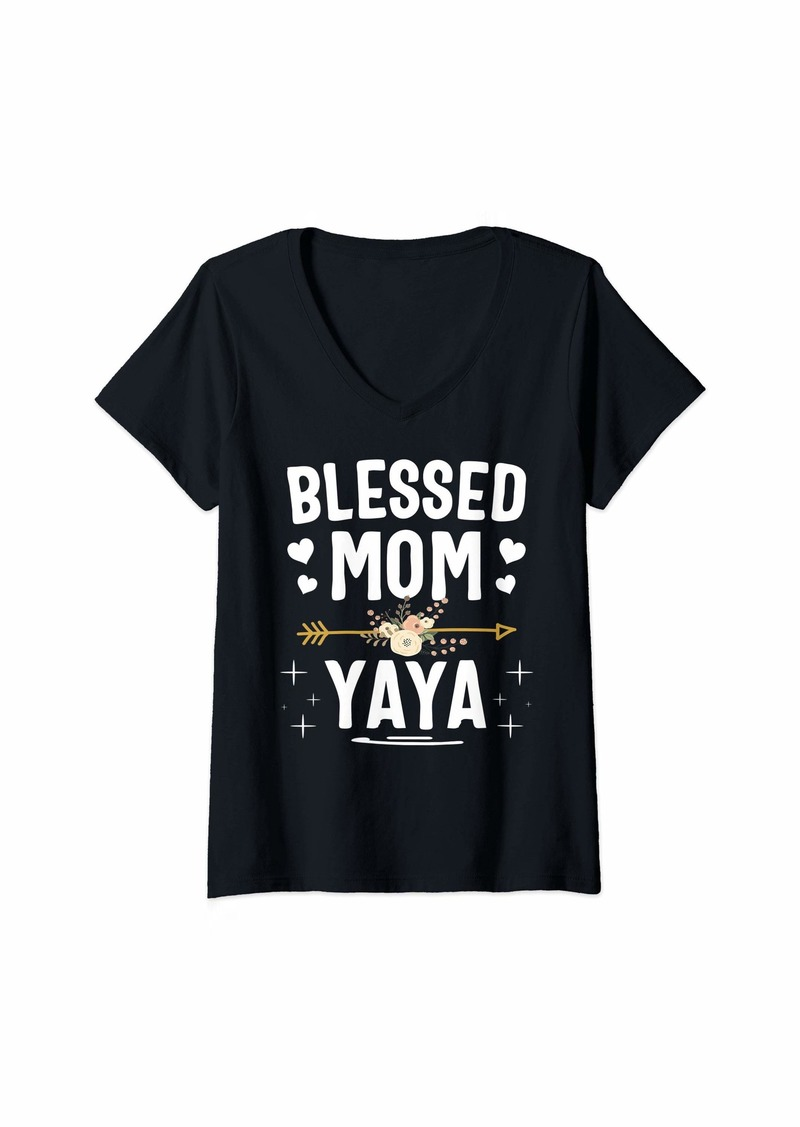 Ya-Ya Womens Blessed Mom And Yaya Mothers Day V-Neck T-Shirt
