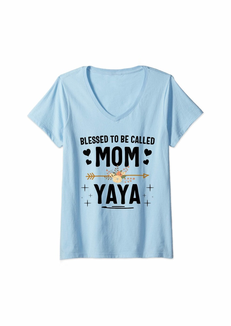 Ya-Ya Womens Blessed To Be Called Mom And Yaya Thanksgiving Christmas V-Neck T-Shirt