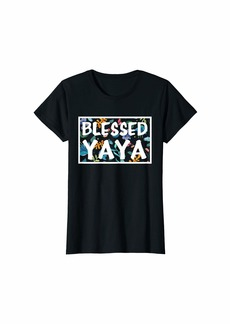 Ya-Ya Womens Flower Blessed YAYA Funny Women Mother's day lover gifts T-Shirt