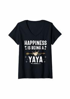 Ya-Ya Womens Happiness is Being A Yaya Mothers Day V-Neck T-Shirt
