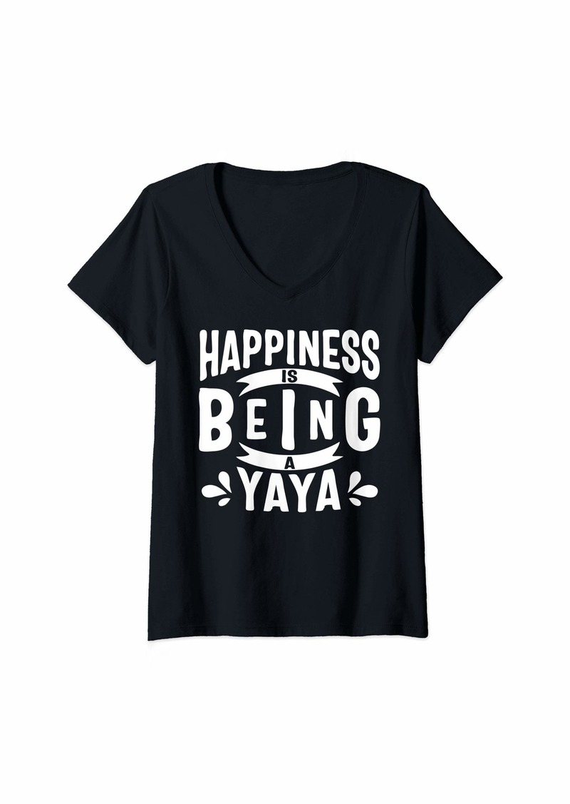 Ya-Ya Womens Happiness Is Being A Yaya Mothers Day V-Neck T-Shirt
