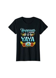 Ya-Ya Womens Happiness Is Being An Yaya Flower T-Shirt