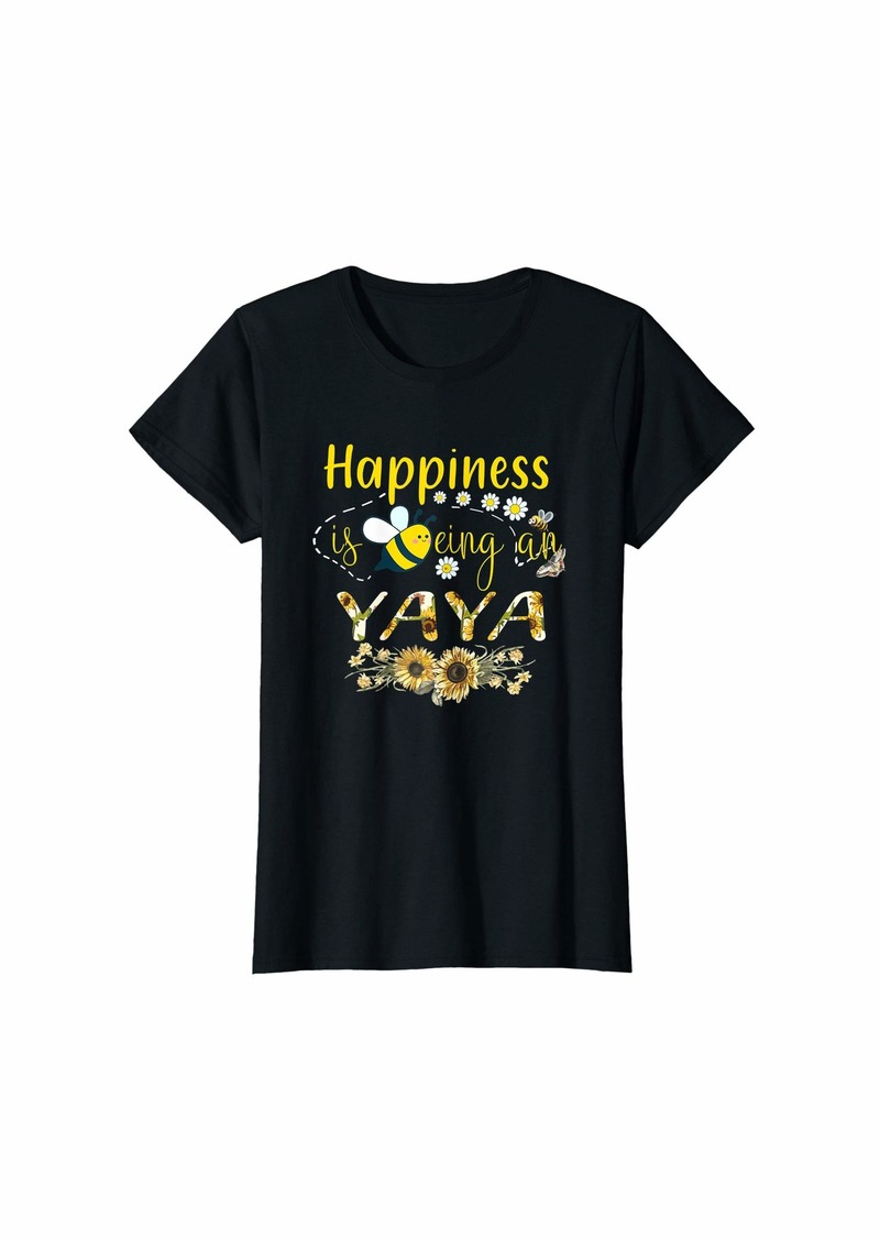 Ya-Ya Womens Happiness Is Being An Yaya Life Tee Sunflower And Bee T-Shirt