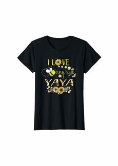 Ya-Ya Womens I Love Being An Yaya Life T-Shirt Sunflower And Bee T-Shirt
