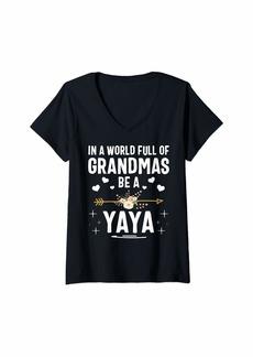 Ya-Ya Womens In A World Full Of Grandmas Be A Yaya Mothers Day V-Neck T-Shirt