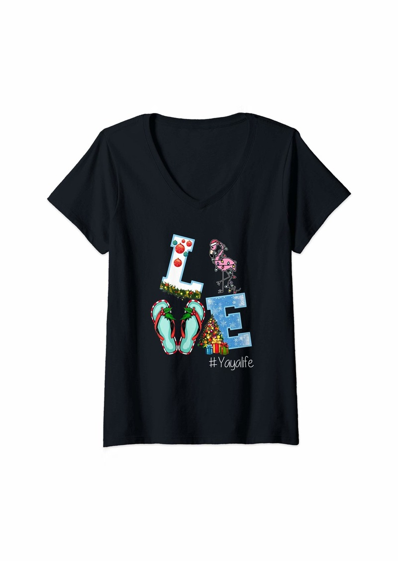 Ya-Ya Womens Love Yaya Life Flamingo Christmas Family Matching V-Neck T-Shirt