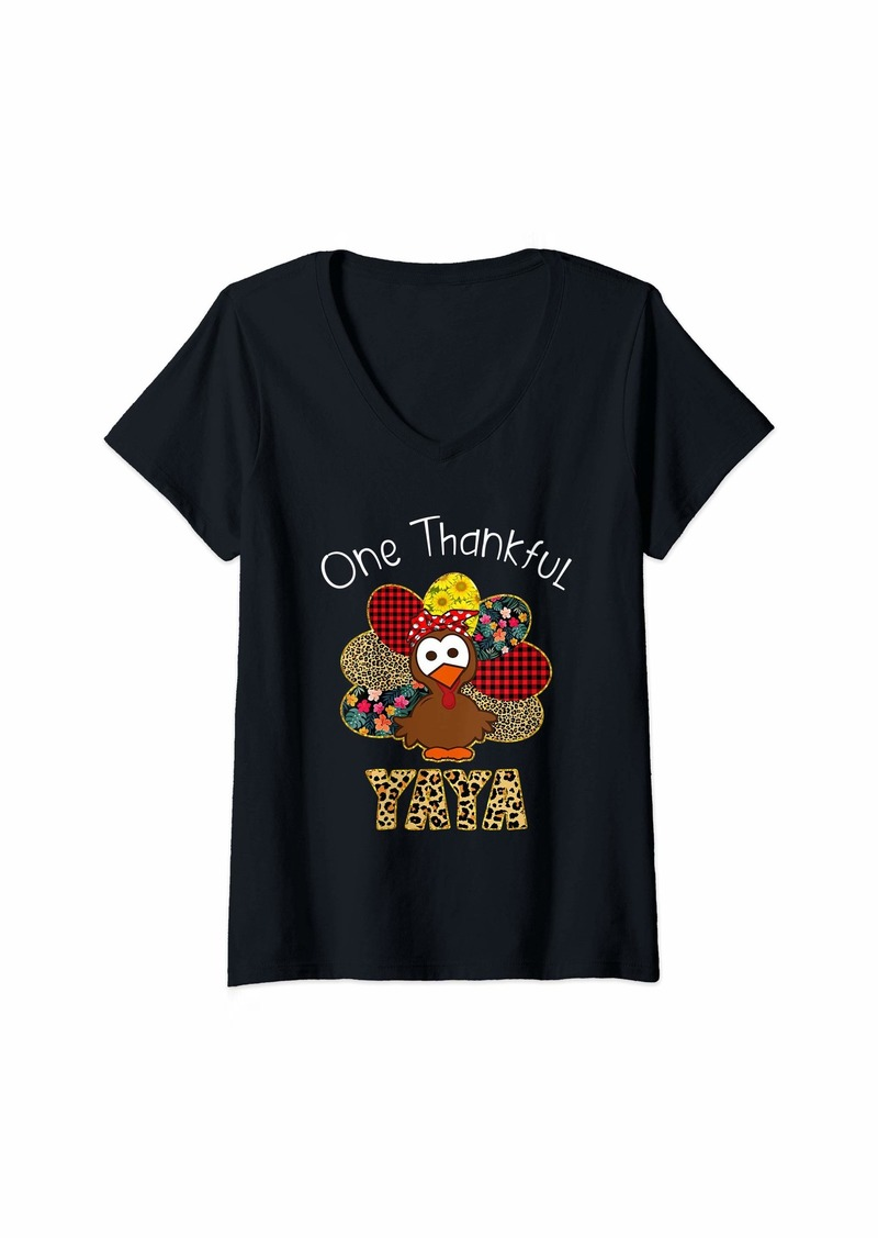 Ya-Ya Womens One Thankful Yaya Turkey Leopart Thankgivings V-Neck T-Shirt