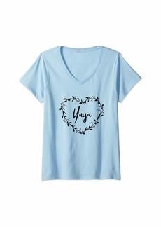 Ya-Ya Womens Yaya Gift For Grandma Beautiful Yaya Gift Grandmother Gift V-Neck T-Shirt