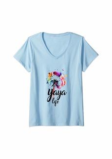 Ya-Ya Womens Yaya Life Dandelion Shirt Gift For Mother Day V-Neck T-Shirt