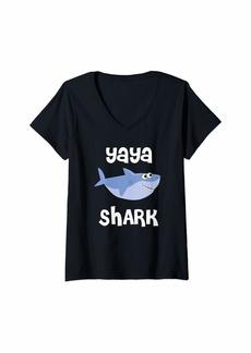 Ya-Ya Womens Yaya Shark T-Shirt Funny Sharks Gift for Ya Ya Doo Doo Doo V-Neck T-Shirt