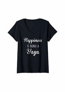 Ya-Ya Womens Yaya Shirt Gift: Happiness V-Neck T-Shirt