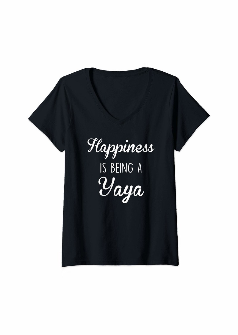 Ya-Ya Womens Yaya Shirt Gift: Happiness V-Neck T-Shirt