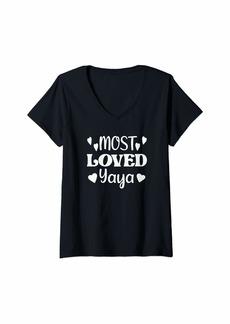Ya-Ya Womens Yaya's Shirt Gift for Grandma Grandmother Most Loved Yaya V-Neck T-Shirt