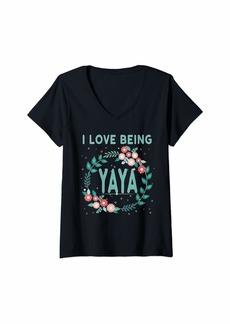 Ya-Ya Womens Yia Yia Yaya Greek Grandmother Gift I Love Being YaYa V-Neck T-Shirt