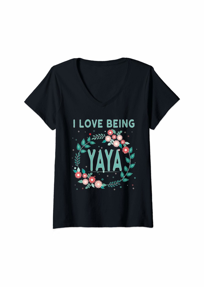 Ya-Ya Womens Yia Yia Yaya Greek Grandmother Gift I Love Being YaYa V-Neck T-Shirt
