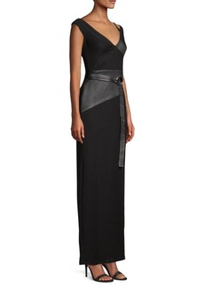 Yigal Azrouel Asymmetric Leather Column Gown