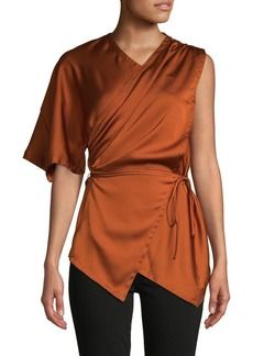 Yigal Azrouel Belted Draped Satin Top