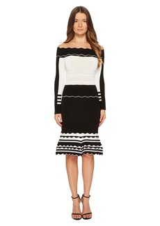 Yigal Azrouel Black and White Striped Off Shoulder Knit Dress