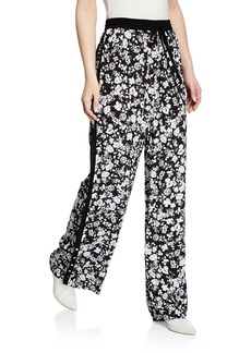 Yigal Azrouel Celosia Floral Snap-Button Track Pants