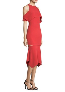 Yigal Azrouel Cold-Shoulder Cape Sleeve Fit-&-Flare Dress