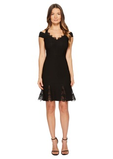 Yigal Azrouel Cold Shoulder Lace Gusset Flare Dress