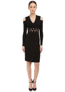 Yigal Azrouel Cold Shoulder Long Sleeve V-Neck Dress