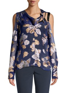 Yigal Azrouel Cold Shoulder Scarf Blouse