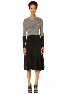 Yigal Azrouel Color Blocked Rayon Off the Shoulder Midi