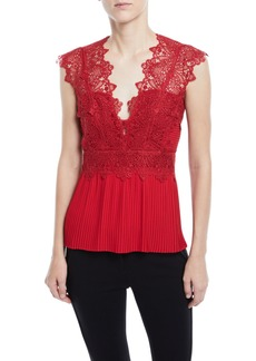 Yigal Azrouel Coral-Embroidered Lace-Top Blouse
