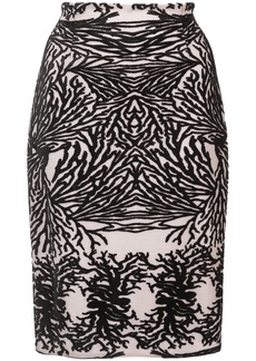 Yigal Azrouel coral reef burnout pencil skirt