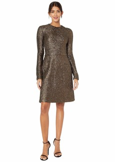 Yigal Azrouel Double Face Lurex Jacquard Fit and Flare Mini Dress