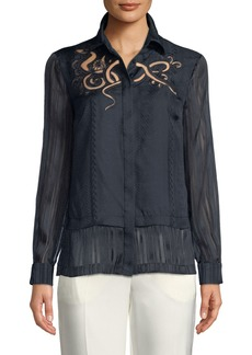 Yigal Azrouel Embroidered Silk Button-Front Blouse