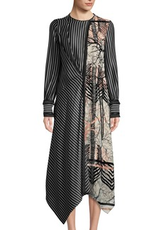 Yigal Azrouel Embroidered-Silk Wrap Gown