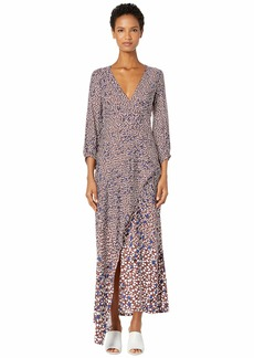 Yigal Azrouel Falling Leaf Printed Twill V-Neck Dress with Drape